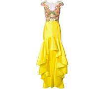 'Mikado' Kleid mit Spitzeneinsatz - Gelb