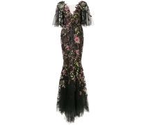 Robe mit Blumenmuster - Schwarz