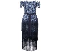 off-the-shoulder fringed lace dress - Blau