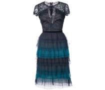 tiered lace dress - Blau