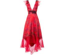 Asymmetrisches Abendkleid mit Jacquard-Musterung - Rot