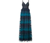 ruffled ombré lace gown - Blau