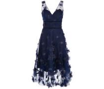 Kleid mit Blumenapplikation - Blau