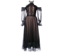 Schulterfreies Kleid mit Spitze - Schwarz
