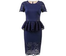 Figurbetontes Kleid mit Schößchen - Blau