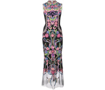 embroidered shift maxi dress - Schwarz