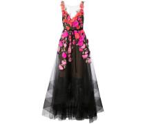 Abendkleid mit floralen 3D-Applikationen - Schwarz