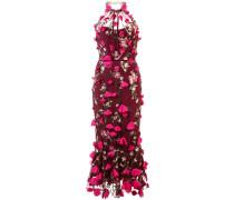 Spitzenkleid mit Blumenapplikationen - Rot