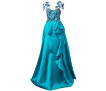 Abendkleid mit floralen Verzierungen - Blau