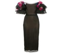 Kleid mit Blumenapplikation - Schwarz