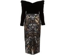 Schulterfreies Kleid mit Pailletten - Schwarz