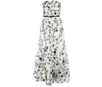 Robe mit Blumenstickerei - Weiß