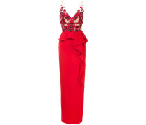 embroidered sequined column gown - Rot