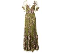 Florales Abendkleid - Grün