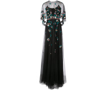 floral-embroidered cape gown - Schwarz
