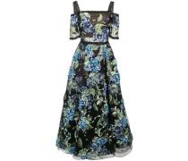Kleid mit floraler Applikation - Schwarz