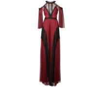 Schulterfreies Abendkleid mit Tüll - Rot
