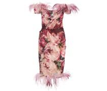 Schulterfreies Kleid mit Print - Rosa