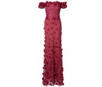 off-shoulder floral appliqué gown - Rot