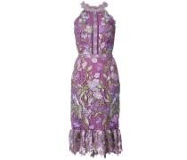 Enganliegendes Kleid mit floraler Spitze - Rosa