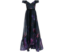 Organza-Robe mit Blumenmuster - Blau
