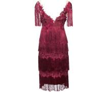 Besticktes Kleid mit Fransen - Rot
