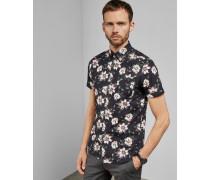 Kurzärmliges Baumwollhemd mit Blumen-Print