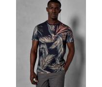 Baumwoll-T-Shirt mit Blatt-Print