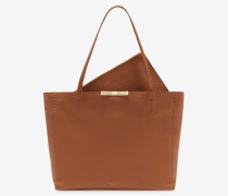 Bow Detail Leather Shopper Bag