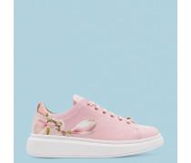 Bedruckte Sneakers mit Plateau-Sohle