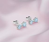 Ohrringe mit Weißgold, Blauem Topas und Diamant