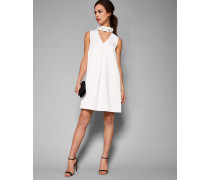 Geschmücktes Kleid Mit Hohem Halsausschnitt