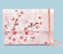 Leder-Umhängetasche mit Soft Blossom-Print