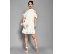 Schulterfreies Kleid mit Stickereien