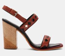 Sandalen aus Leder mit Blockabsatz