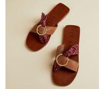 Leather Slip On Peppermint Sliders