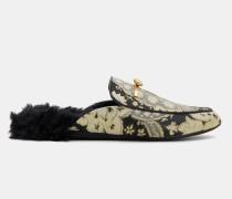 Kunstpelz-Loafers mit Print