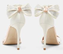 Sandalen mit Oversized-Schleife und Kristallen