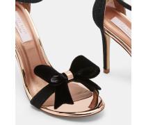 Sandalen mit Oversized-Schleife aus Lurex