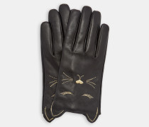 Lederhandschuhe mit Katzenverzierung