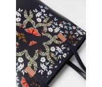 Leder-Shopper mit Kyoto Gardens-Print