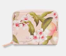 Kleines Portemonnaie mit Reißverschluss mit Peach Blossom-Print