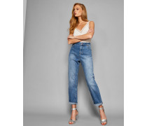 Boyfriend-jeans Mit Sternförmigen Destroyed-details