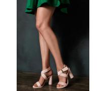 Leder-Sandalen mit Riemen und Rundem Absatz