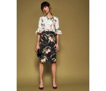Kleid mit Peach Blossom-Print und Trompetenärmeln