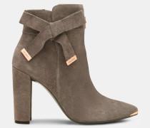 Ankle Boots Aus Wildleder Mit Schleife
