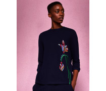 Pullover mit Floraler Stickerei
