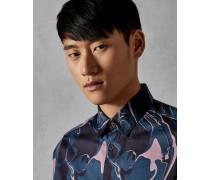 Baumwollhemd mit Marmor-Print