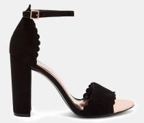 Scallop Detail Suede Sandals