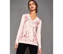 Pullover mit V-Ausschnitt mit Peach Blossom-Print